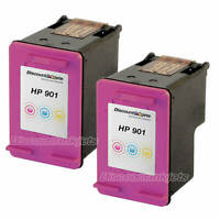 2PK Tri-Color for HP 901 HP901 CC656AN Ink Cartridge OfficeJet J4660 J4580 J4680