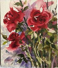 Pamela Wilhelm Original Watercolor painting deep red roses olive green leaves
