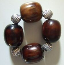 8 Pottery Barn Large Bead Napkin Ring Holders ~ New in Box ~ Silver Brown A
