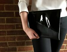 GLOSSY AND MATTE BLACK FAUX LEATHER OVERSIZED CLUTCH BAG HANDMADE PROM WEDDING