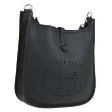 HERMES EVELYNE PM Shoulder Bag Black Veau Crispe Togo Vintage S08781k
