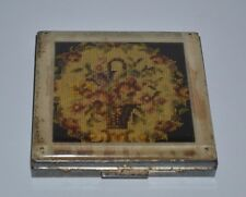 Vintage makeup powder mirror compact Fifth Avenue Rex New York needlepoint