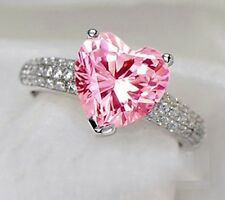 Women Pretty Pink Sapphire Heart White Crystal 925 Silver Engagement Rings Sz 7