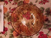 "Amber, Gold Depression Glass, Sunburst, Scalloped Serving Bowl, 8"""