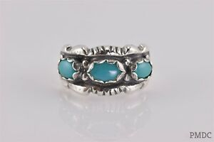 Sterling Silver Triple Blue Oval Turquoise Scalloped Band Ring 925 Sz: 10