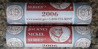 2006 P & D JEFFERSON NICKEL ORIGINAL MINT WRAPPED ROLLS WESTWARD JOURNEY SERIES