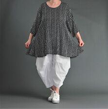 ♦ AKH Fashion A-Linie-Shirt Gr. 42,44,46,48,50,52 schwarz-weiß, gestreift  ♦