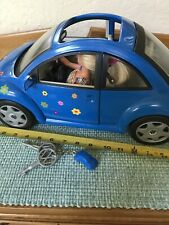 Mattel Barbie Blue VW Volkswagen® Beetle Bug Toy Car With Keys & Bonus Barbie