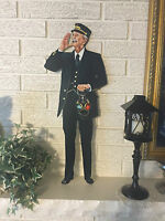 Train Conductor With Railroad Signal Lantern Laser Cut Out Heavy Steel Sign