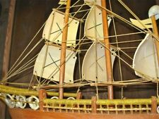Vintage Antique Folk Tramp Art Sea Shell Wood Maritime Sail Boat Sailing Ship