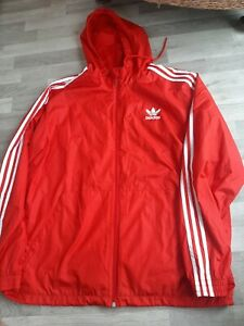 Red Adidas Cagoule Jacket Original Adidas  XL