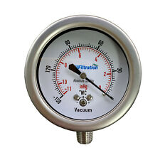 """New PRM 0 to -150"""" WC/ 0 to -11""""HG Vacuum Gauge 2.5"""" SS Case, Internals, Fitting"""