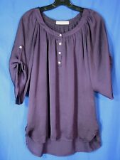 HEY SWEET GIRL Dark Purple SILKY POET'S BLOUSE Peasant Top FLOWY HIGH-LOW sz L