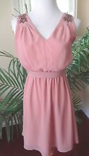 Ya Los Angles S Mauve Pink Boho Chic Fit & Flare Cocktail Evening Dress
