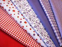 Fat Quarters Fabric Bundles Red Ladybirds Purple Flowers Gingham Check Craft Sew