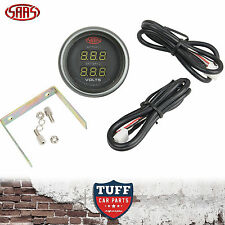 SAAS Dual Volt Gauge Black Face Dial 52mm Multi Colour 8v - 18v + Fitting Kit