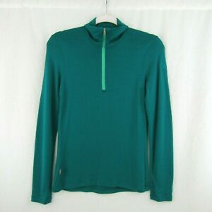 Icebreaker Bodyfit 260 Womens Merino Wool 1/4 Zip Pullover Teal Green Size S
