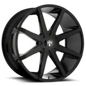 """Dub S110 Push 24x9.5 6x135/6x5.5"""" +25mm Gloss Black Wheel Rim 24"""" Inch"""