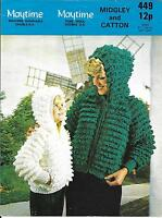 Midgley 449 Vintage Knitting Pattern, Ladies Girls Loopy Hoodie Jacket DK 24-40""