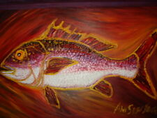 ORIGINAL OIL PAINTING RED SNAPPER W/FR BY ANN SUSAN ELMER NAUTICAL SEA LIFE