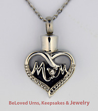 """Mom"" With CZ Cremation Jewelry Pendant Keepsake Urn  with 20"" Necklace & Funnel"