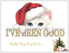 20 CHRISTMAS Good White Cat KITTEN Tree Greeting Flat CARDS Envelopes Seals