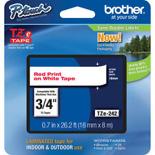 "Brother TZ242 TZe242 18mm 3/4"" inch red on white TZ tape P-Touch label PT2030"