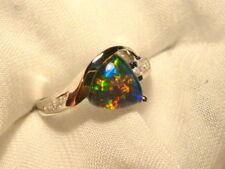 Opal Ring Ladies Sterling Silver 925 & CZ, 8x 8mm Trillion Triplet. item 070307.