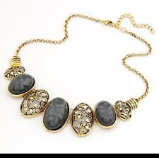 Bohemian Bib Choker Necklace Vintage style pendant Black Gold toned