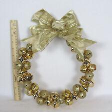 """Vtg 1960s 70s Golden Jingle Bells Christmas Wreat & Ribbon 12 1/2"""" Tall"""