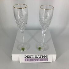 Waterford Crystal First Light Dawn of Millennium 2 Champagne Flutes Gold Rim