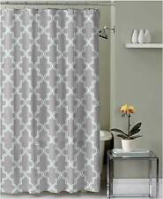 Shower Curtain Gray and Light Blue Quatrefoil Geometric Decorative Fabric Design