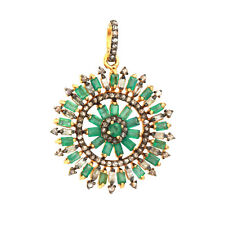 Diamond Pave Emerald Gemstone Pendant Solid 925 Silver Jewelry Gift For Friends