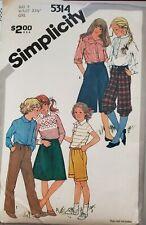 Vtg Simplicity pattern 5314 Girls' Pants, Knickers, Bermudas size 8 uncut
