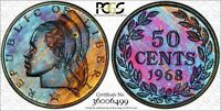1968 LIBERIA 50 CENTS PCGS PR66 MONSTER TONED BOTH SIDES ONLY 4 GRADED HIGHER!