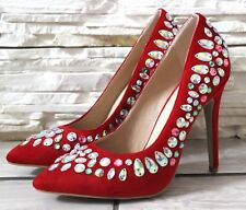 Womens Red Stiletto High Heels Pointed Toe Party Office Court Shoes Pumps Size