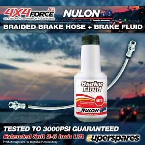 """Rear Braided Brake Hose + Nulon Fluid for Toyota Hilux RN105 RN110 YN106 2""""-3"""""""
