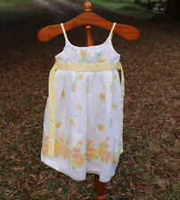 Young Girls Satiny Dress Size 7 White with Yellow Flowers