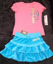 NWT Juicy Couture New Turquoise & Pink Velour Skirt & T.Shirt Set Girls Age 8