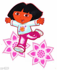 """4"""" DORA & BOOTS NICK JR CHARACTER HEARTS FLOWERS SET  FABRIC APPLIQUE IRON ON"""