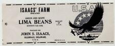 ISAACS FARM Vintage Lima Beans Can Label WWII, AN ORIGINAL 1940's TIN CAN LABEL!