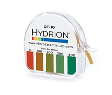 Hydrion Qt-10 Ph Test Strips Papers Quaternary Ammonium Sanitizer Single Roll