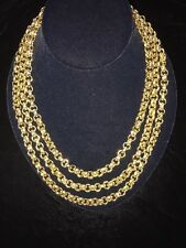 Vintage 3 Chain Paolo Gucci Gold Link Italian Necklace RARE.NWT