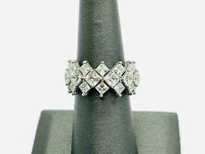 Judith Ripka Sterling Silver CZ Diamonique Wide Princess Cut Eternity Band Ring