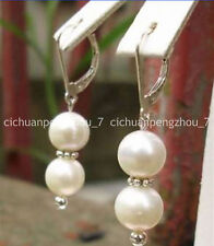 Really natural 8mm Genuine White Shell Pearl Silver Dragon Hook Earrings