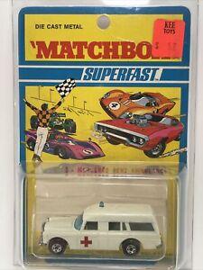 MatchboxSuperfast 3 MERCEDES BENZ AMBULANCE White sealed carded w stretcher