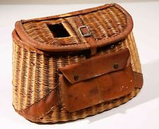 Vintage Wicker & Leather Fishing Creel Basket with Front  Pouch