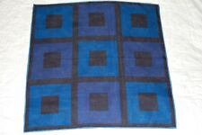 DOUBLE-SIDED BLUE COTTON  POCKET SQUARE NEW