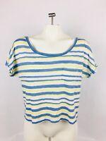 Aerie Women's T-Shirt Medium Striped Blue White Short Sleeve Short Top (D)