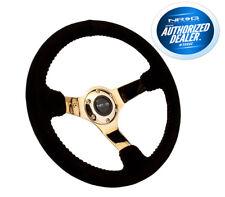 NRG Innovations Race Series Steering Wheel Black Suede Gold Spokes RST-036CG-S